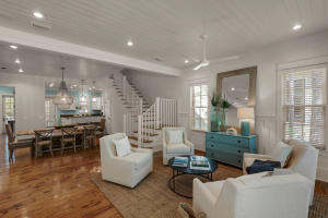 Two discrete seating areas add to the welcoming appeal of the open floor plan