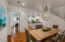 The dining area is a welcome extension of the kitchen and living area