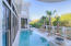 Fire bowls flanking pool
