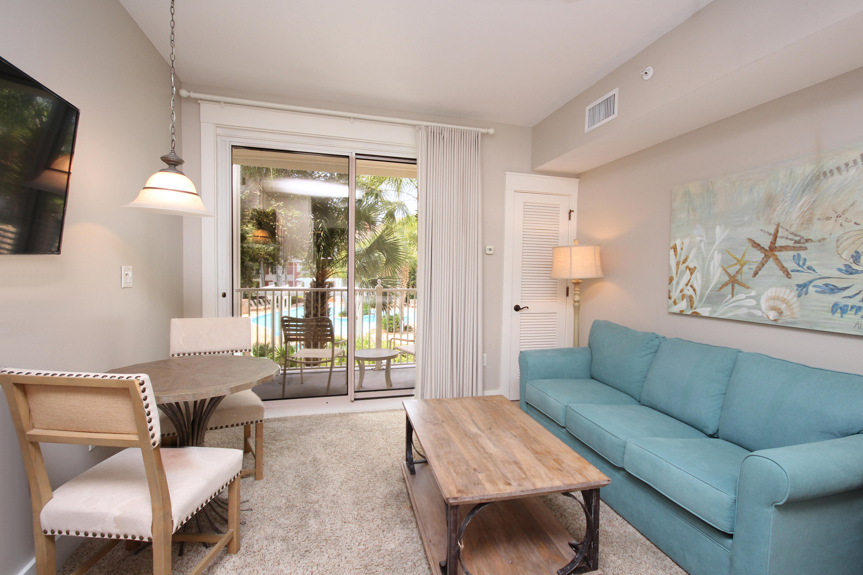 """Overlooking the amenity terrace and ''A'' rated on the Sandestin Rental program, this charming 4th floor furnished studio would make a great weekend getaway or rental investment. Gateway Owners and Guests enjoy the private exclusive resort style pool, hot tub, fitness center, beautiful lawn, grilling areas, outdoor fireplaces, and spacious dog walks.  In addition, you are just steps from the Village at Baytowne Wharf, a charming pedestrian village with events, shopping, dining, family entertainment and nightlife.  Sandestin also offers miles of sandy white beaches and pristine bay front, four championship golf courses, a world-class tennis center with 15 courts, 4 resort swimming pools (and 15 private neighborhood pools), a 123-slip marina, a fully equipped and professionally staffed fitne center and spa, and meeting spaces....something for everyone!  Come to Play, Stay for Life!   As an introduction to the Sandestin lifestyle, we invite our new owners to explore amenities that make Sandestin special. The listing brokerage and seller(s) are presenting the buyer(s) of this property with (2) 90-minute rounds of Tennis court time, a golf foursome at one of our three championship courses, a round of golf for up to four (4) players and an invitation to """"Club Night"""" at the unrivaled Burnt Pine Golf Club."""