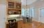 Planning desk and informal dining room.