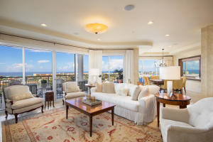 Open floor plan with floor to ceiling glass provide gulf and harbor views from every room