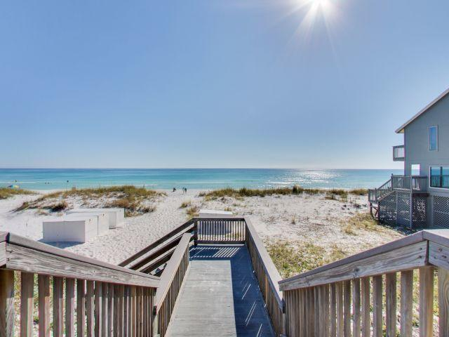 Fantastic bargain beach condo deal for a 1br/1ba with bunks with DEEDED beach access agrmt. Gulfview II #227 is 2nd floor fully furnished and super convenient to the large pool/hottub, stairwell, laundry and more. Enjoy the comfort of a comfortable beach getaway with this great location on Old 98/Scenic Gulf Dr. offering 2 pools (1 heated) hottub, grill area, and deeded access. Also in walking distance to Kenny D's restaurant, Capt. Daves and just a few minute drive to the Commons Mall and Silver Sands mall, area dining and activities. What a gem of a deal!  Owner rents vrbo and grosses between $15-22K w/owner usage. Hall bunks allow unit to sleep 4. Property looks good and just went under residing renovation and $6K special assessment paid by seller. Easy show. Be sure to see Virtual tour