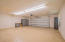 Large garage with storage cabinets