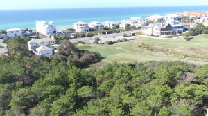 Overhead view of lot showing proximity to beach with views of the Gulf of Mexico and the adjacent golf course.