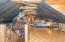 Loft/suite- barn metal ceiling, wood beams