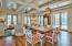 Living/dining ceiling features extensive wood detailing