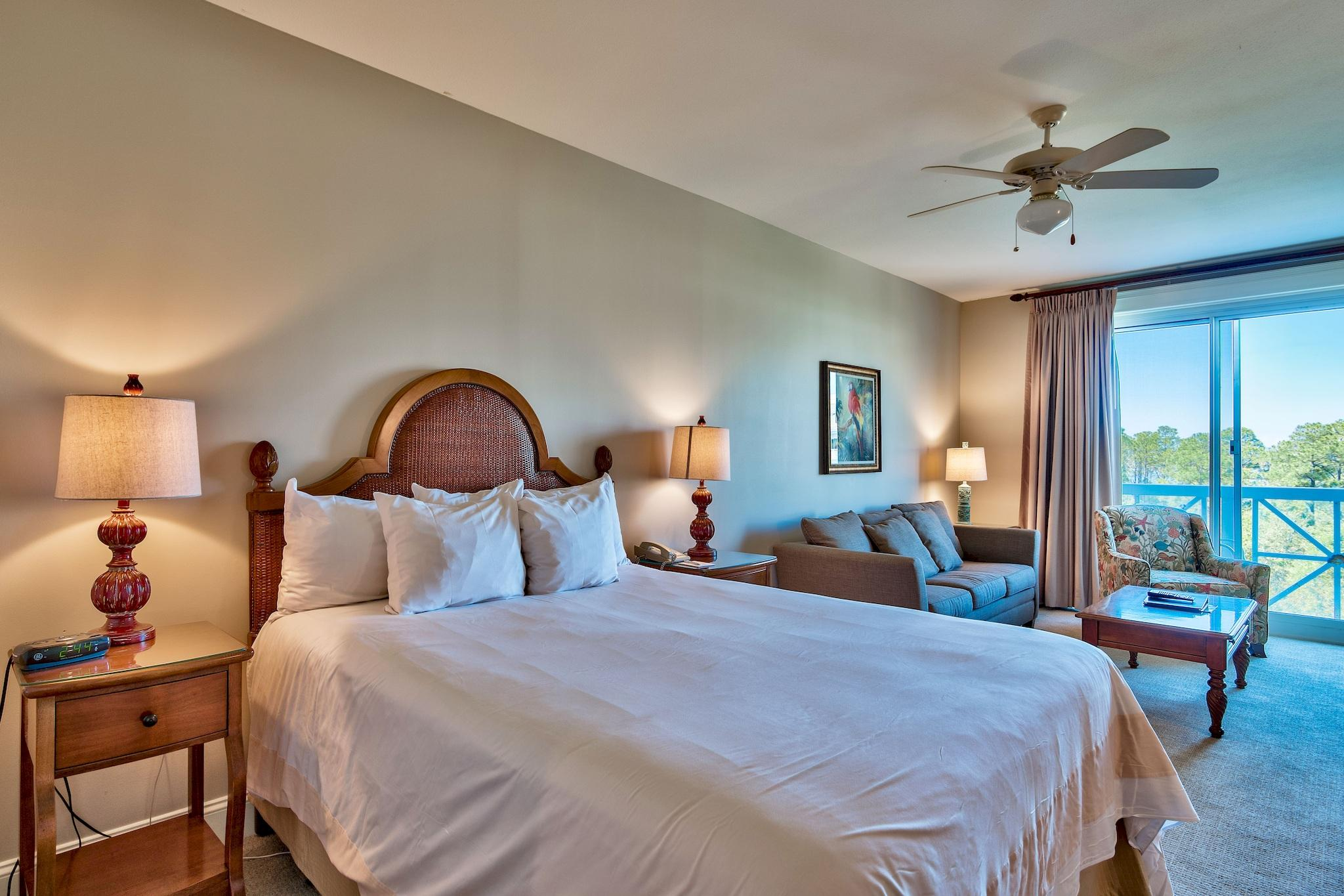 """Rare bay-facing studio located on the 4th floor, overlooking the pool and garden areas in the Grand Sandestin. ''A'' rated on the Sandestin Rental Program, this studio offers new carpet and curtains as of April 2018. Take advantage of the easy access to the Grand Sandestin lobby, fitness center, Ballyhoo Bar and Baytowne Conference Center. All of the shops, restaurants and year-round events of the village await you. As an introduction to the Sandestin lifestyle, we invite our new owners to explore amenities that make Sandestin special. The listing brokerage and seller(s) are presenting the buyer(s) of this property with (2) 90-minute rounds of Tennis court time, a golf foursome at one of our three championship courses, a round of golf for up to four (4) players and an invitation to """"Club Night"""" at the unrivaled Burnt Pine Golf Club.  Sandestin Golf and Beach Resort is a major destination for all seasons and all ages, and has been named the #1 resort on Florida's Emerald Coast. This magical resort spanning over 2,000 acres is comprised of over 70 unique neighborhoods of condominiums, villas, town homes, and estates. The resort features miles of sandy white beaches and pristine bay front, four championship golf courses, a world-class tennis center with 15 courts, 4 resort swimming pools (and 15 private neighborhood pools), a 113-slip marina, a fully equipped and professionally staffed fitness center and spa, meeting spaces and The Village of Baytowne Wharf, a charming pedestrian village with events, shopping, dining, family entertainment and nightlife. For true golf cart community living, Grand Boulevard is just outside the resort gates and provides access to additional shopping, dining and entertainment â"""" all without traveling on Hwy. 98.  Come to Play, Stay for Life!"""