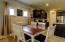 The dining area has room for large gathering or just family dinner