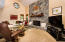 Tall vaulted ceilings and flagstone fireplace