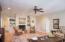 Spacious Living room, recessed lighting, ceiling fan