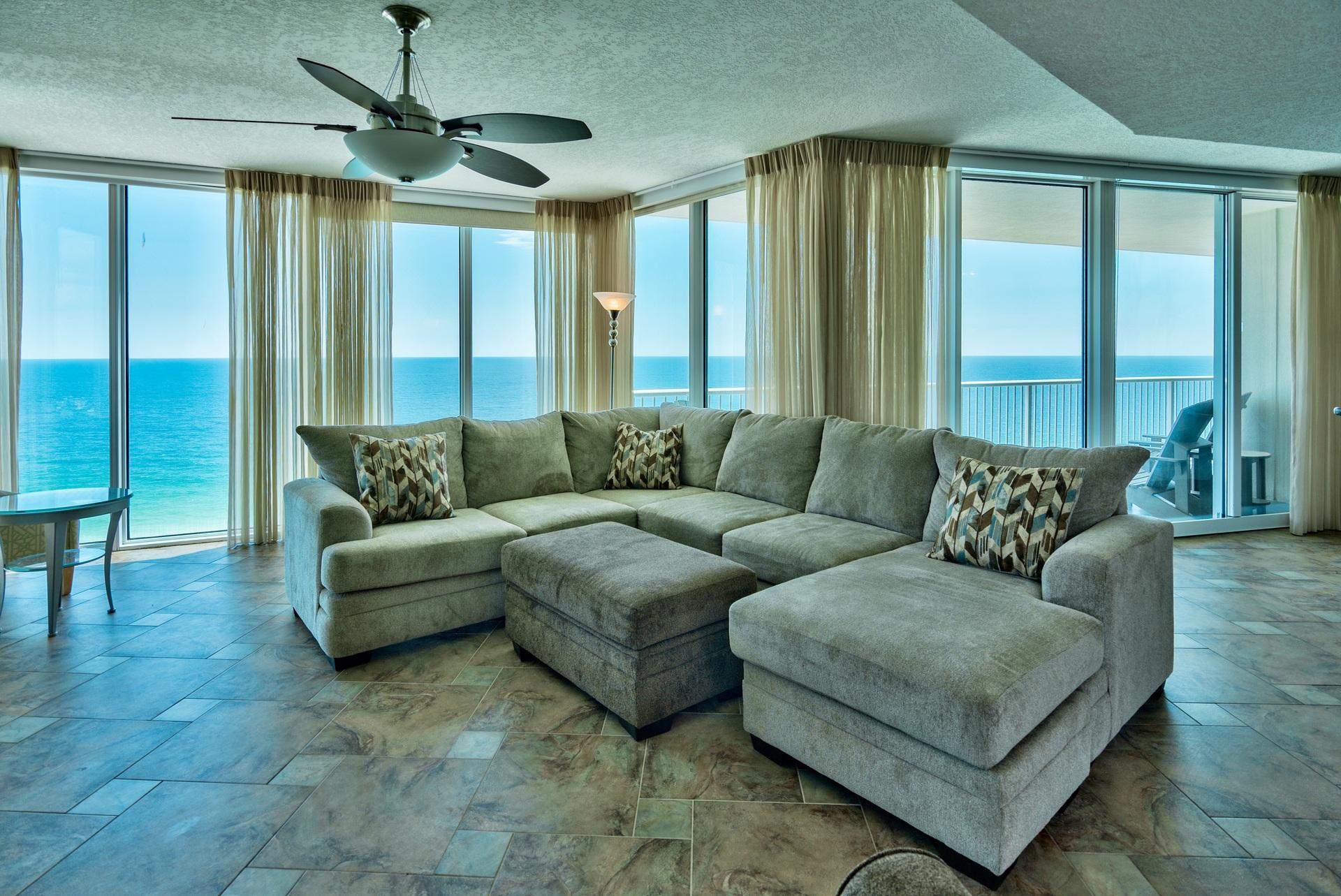Have you been waiting for an updated corner unit at Palazzo with breathtaking views? Unit #1501 is an incredible 3-bedroom, 3-bath, Gulf front East corner unit that is being sold fully furnished and beautifully decorated with flat screen TVs. The entire corner as well as the front of the unit is nothing but floor to ceiling glass that maximize the views for a tremendous wow factor as you enter! The glass is high quality & UV tinted. Enjoy the spacious 229 ft. balcony with access from both the living area & master bedroom. Interior features an open floor plan totaling ~1,849 sq. ft., 9 ft. raised ceilings & crown molding. This home features beautiful custom tile floors, new custom curtains (nearly $7k value) and luxurious coastal decor. Pride of ownership is apparent the moment you step in!