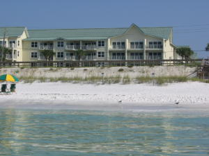 View across beach to building two.