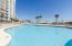 The gulf front pool deck provides beach front entertainment in the giant pool and hot tub.