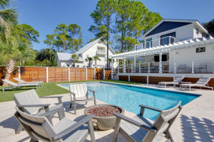 Fire pit and one of the largest pools in Grayton Beach