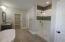 Custom tile / marble shower with glass door enclosure