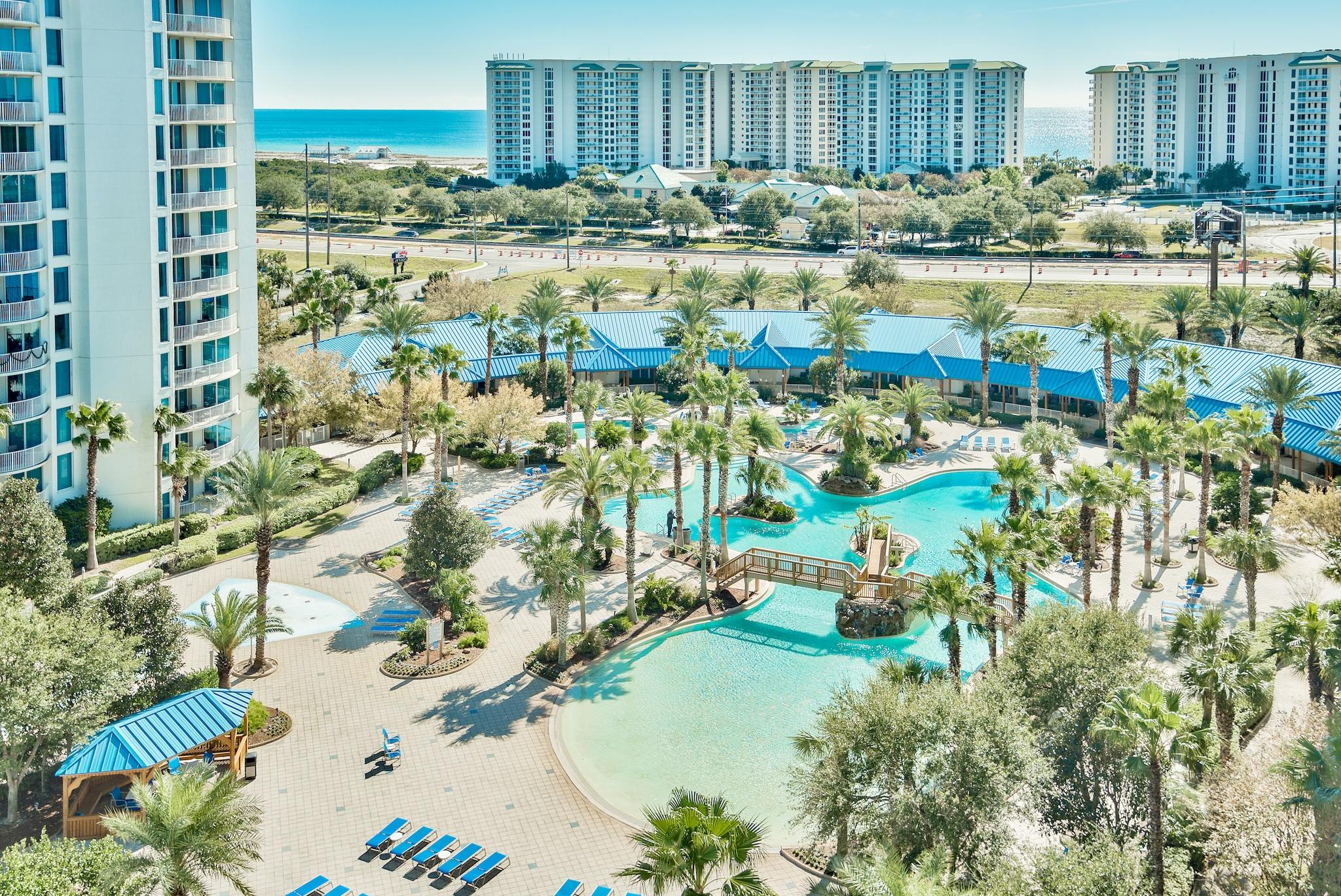 Gorgeous Gulf. pool, and bay views offered from this furnished 10th floor unit, full 2 bedroom unit! RENTAL PROJECTION IS ESTIMATED AT $36,275 A YEAR. Kitchen features granite countertops and maple cabinetry! Amenities at The Palms are first class. They include an expansive 11,000 SF lagoon pool with waterfall and spa, children's pool, beach tram, playground and splash pool, lighted tennis and basketball courts, huge fitness center, and covered protected parking. Also on site is the conference center, office center, and reception desk. THE ASSOCIATION FEES INCLUDE ALL UTILITIES, INCLUDING ELECTRICITY, WATER, CABLE, INTERNET, AND LOCAL PHONE SERVICE. HOA fees are $2,903.08/quarterly. In addition to the HOA fees,owner's pay a $75 reservation whenever the unit is rented. Buyer to verify all info.
