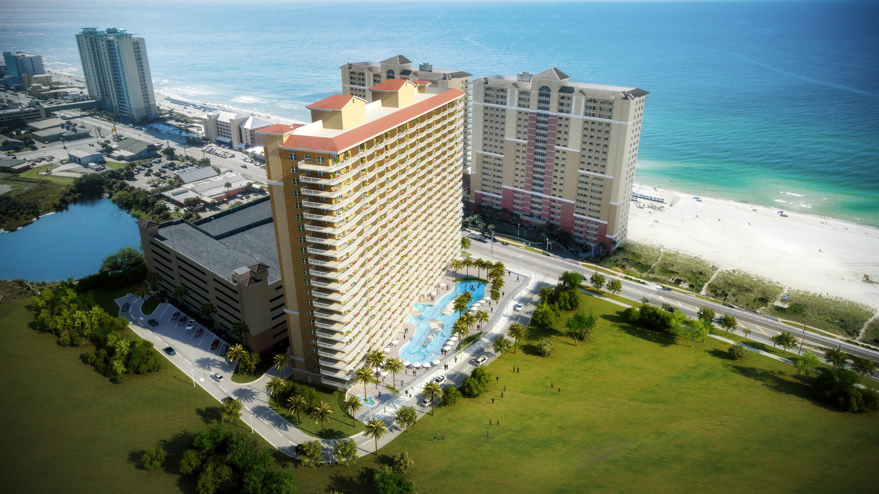 First pre-construction condos in Panama City Beach in 10 years! Adjacent to Pier Park and a quick walk to City Pier. Luxury interiors w/stainless steel appliances, quartz/granite counters, 9 ft. ceilings, 10 ft. wide balconies. Amenities include lagoon-style pool, large fitness center, snack bar and parking garage.