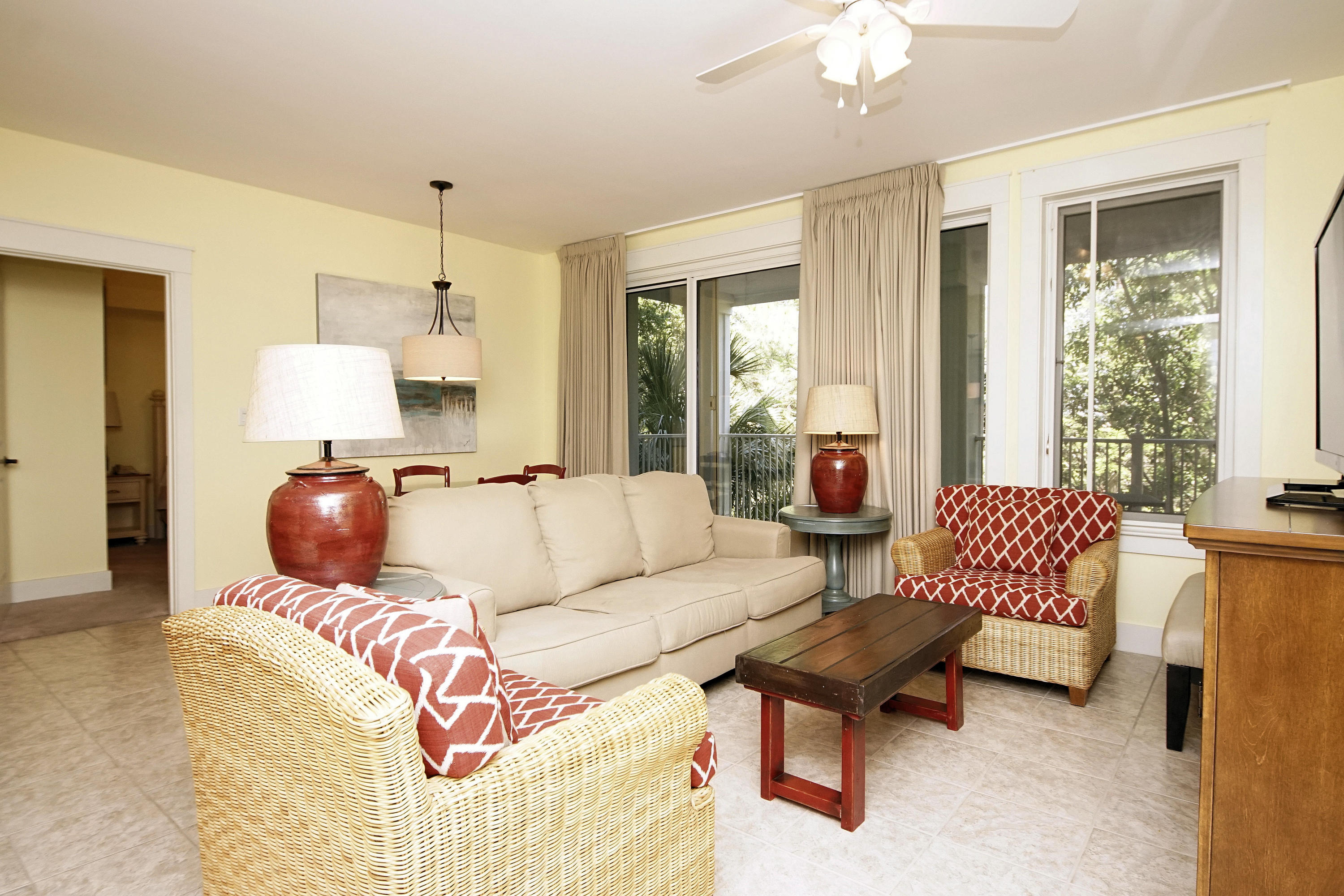 """Fabulous location, close to shops and restaurants of the Village of Baytowne Wharf, located on amenity terrace level featuring resort style pool, garden area, hot tub, grills and fitness room.  Furnished (including sleeper sofa) 2-bedroom lockoff - Great investment opportunity as studio, 1 bdrm or 2 bdrm unit.  2018 combined rental history $44,879 and 2017: $34,599 on Sandestin Rental Mngt.Relax on the spacious deck overlooking mature trees and well-manicured grounds.As an introduction to the Sandestin lifestyle, we invite our new owners to explore amenities that make Sandestin special. The listing brokerage and seller(s) are presenting the buyer(s) of this property with (2) 90-minute rounds of Tennis court time, a golf foursome at one of our three championship courses, a round of golf for up to four (4) players and an invitation to """"Club Night"""" at the unrivaled Burnt Pine Golf Club.   Sandestin Golf and Beach Resort is a major destination for all seasons and all ages, has been named the #1 resort on Florida's Emerald Coast.  This magical resort spanning over 2000 acres is comprised of over 70 unique neighborhoods of condominiums, villas, town homes, and estates. The resort features miles of sandy white beaches and pristine bay front, four championship golf courses, a world-class tennis center with 15 courts, 4 resort swimming pools (and 15 private neighborhood pools), a 113-slip marina, a fully equipped and professionally staffed fitness center and spa, meeting spaces and The Village of Baytowne Wharf, a charming pedestrian village with events, shopping, dining, family entertainment and nightlife. For true golf cart community living, Grand Boulevard is just outside the resort gates and provides access to additional shopping, dining and entertainment - all without traveling on Hwy. 98. Come to Play, Stay for Life!"""