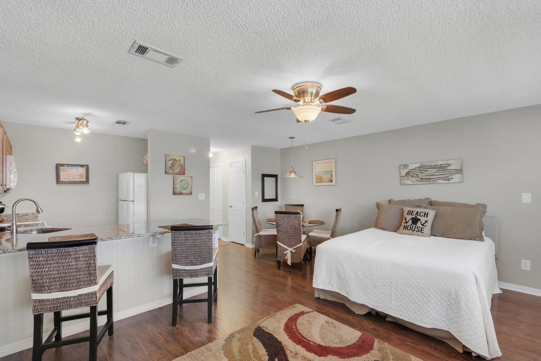 Motivated seller!!  Are you looking for a place along 30-A? Look no further. Beautifully updated studio directly across the street from the beach.  Hidden Beach Villas is in Seagrove within walking distance to restaurant and shops.  This unit has a new HVAC system added in 2018 and new bedding. There is a community pool.  This unit is booked out through out June and July 2019.  These booking could convey to new owner.  Currently on a short term rental program.