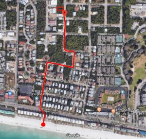 2400 feet from lot to beach