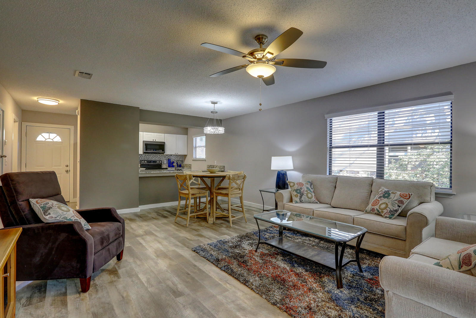 """Imagine sitting on your screened porch overlooking the forest, listening to the birds sing while planning your day at the beach. This fantastic townhome in Seagrove is located in Cassine Garden-a hidden jewel on 30A! Only 300 yards from the water, this unit has been renovated from top to bottom. Unit 184 is a sought-after larger end unit offering 2 bedrooms & 2 full baths upstairs with the living, dining, kitchen & powder room on first floor. Both full baths have been updated with new vanities, fashionable tile, fixtures & plumbing! All new furniture in the living/dining room is ready for you or your guests. Bedrooms have been left unfurnished for you to configure with bedding to fit your needs. New flooring, new paint, new appliances, new washer & dryer, light fixtures, tv, living & dining room furniture...so many that we've attached the list under """"Documents"""". Two screened porches assure you of relaxation in any season. Ample storage is unique to these townhomes â"""" 3 outdoor storage rooms for your beach toys, bikes, etc. Just yards from Beach access, restaurants, shopping and biking distance to Seaside. This fabulous townhome is ready for you & your family!"""