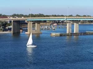View of the Sound and Brooks Bridge