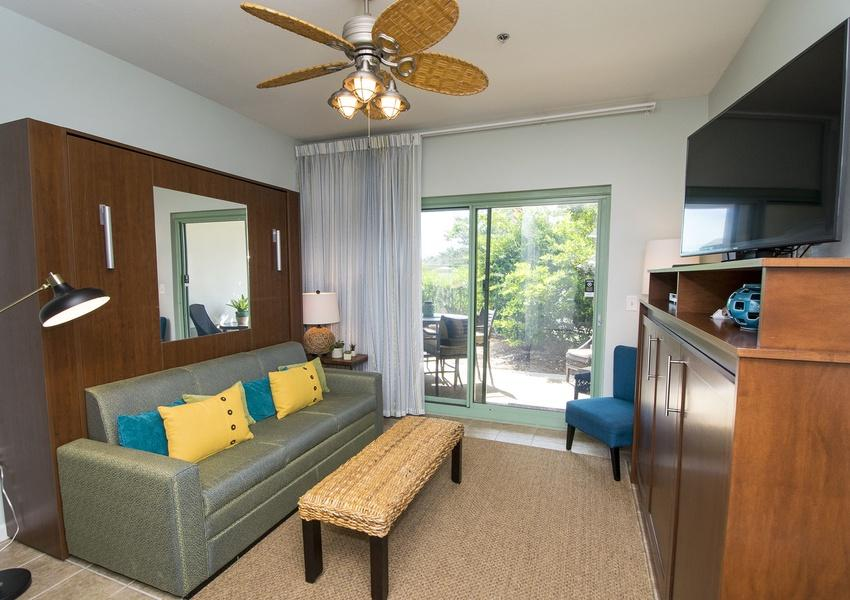 The Inn at Seacrest Beach unit #100. Located on east end of County Highway 30A next to Alys Beach. Easy walk to Seacrest Beach, Rosemary Beach and the white sandy beaches of the Gulf of Mexico. This unit is unique to all other Inn at Seacrest units in that the couch is actually a Murphy Bed that converts into a queen size bed with a plush ''real'' mattress. The ''entertainment center'' cabinet hides a brand new twin size Murphy Bed, so this unit actually comfortably sleeps three people. There is a full size range. The condo has been freshly painted and has professionally installed drapes that have one set of 'sheers' that let in light but allow privacy, and a separate set of blackout drapes underneath that make it DARK in there when someone wants to sleep in! There is a beach shuttle too !