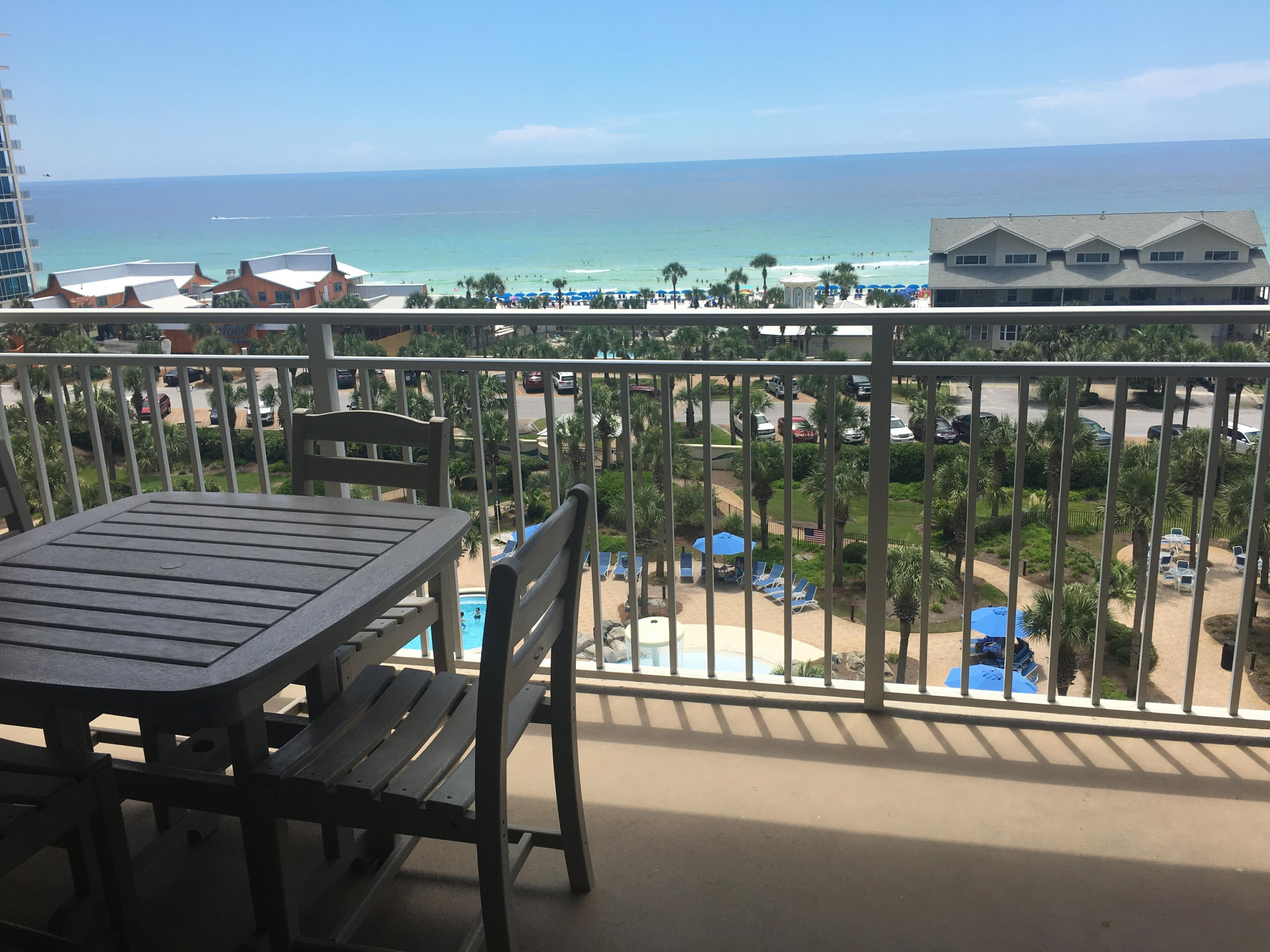 Beautiful  big 2 bedroom 2 bath condo located in ideal location of the bldg & offering outstanding views of the gulf,  the pools and beautiful landscaped green areas & walkways the property offers. Master bedroom and living area open up to large balcony where you can sit & relax and enjoy the views. Sterling Shores is on almost 9 acres of gated property, 2 pools, one waterfront with Private Beach Club offering food & drinks during peak season & deck to enjoy the sunsets. Also large pool with mushroom fountain and 0 gravity entrance for all to enjoy. Great rental income!