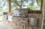 Summer Kitchen with stainless steel gas Bull grill, gas power burner, plus bar