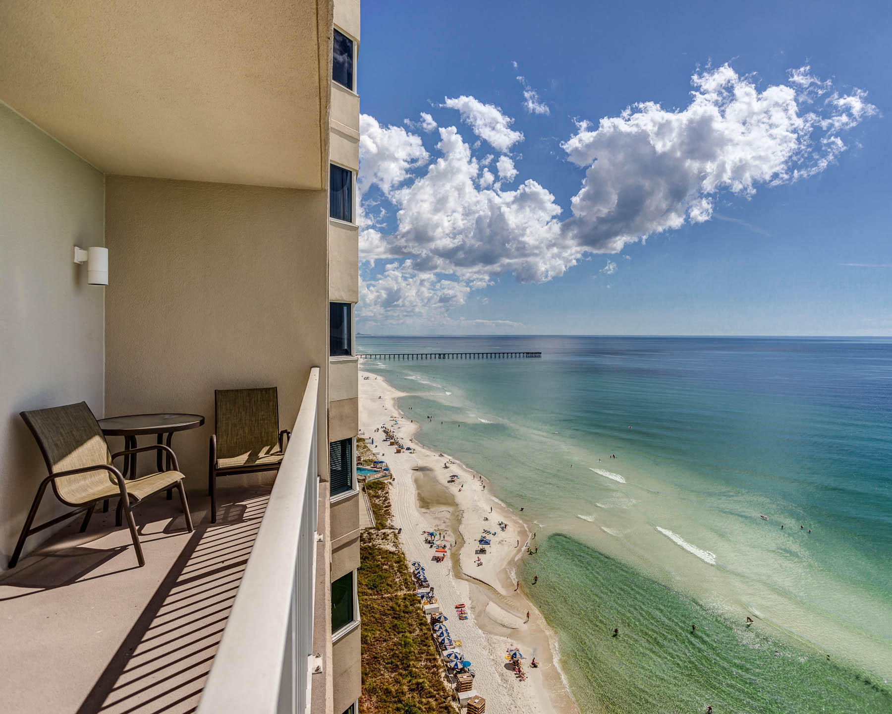 This is an immaculate 1 bedroom/2 full bathroom beach front condo at Tidewater Beach Resort in Panama City Beach, Florida. Tidewater 1504 is the largest of the one bedroom floor plans offered at Tidewater with 934 SF. The condo features a large kitchen and living area with beautiful beach views and access to a generous beach front balcony. The condo sleeps six comfortably with hall bunk beds and a sleeper sofa. These condos are true rental machines with estimated gross returns of $30k to $35k per year. Tidewater Beach Resort offers one of the best locations in town with close proximity to Pier Park Shopping Development, Frank Brown Park and the Panama City Beach International Airport (ECP)! You can't go wrong with Tidewater Beach Resort if you are looking for the perfect beachfront condo! Amenities including 2 outdoor gulf front pools, 1 indoor heated pool, game rooms, 1 restaurant, a convenience store, a huge beach front fitness center, movie theater, 4 hot tubs, saunas, steam rooms, conference room, covered parking, a computer lounge, game room, and a beautiful owners lounge on the 30th floor.