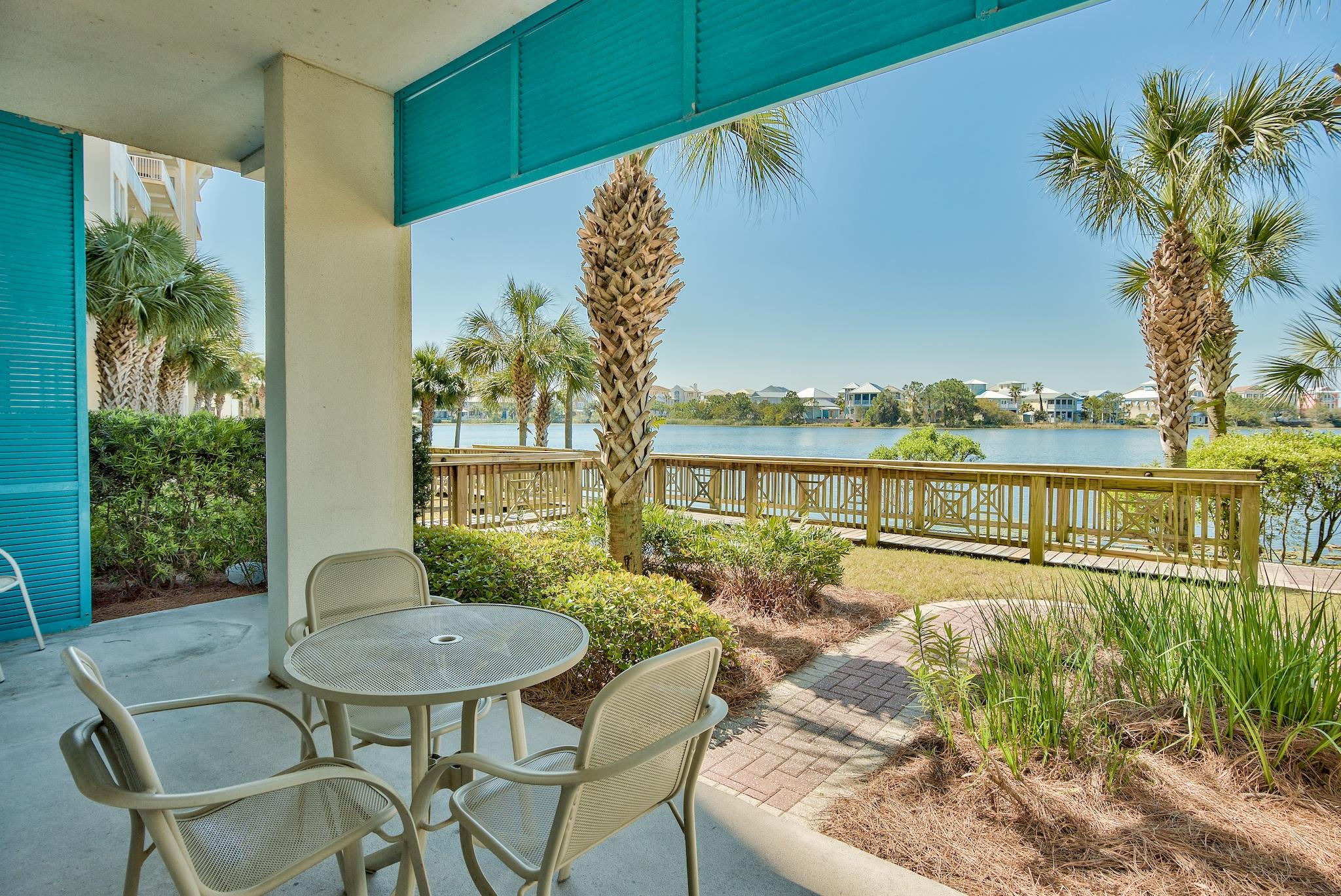 Don't' Miss this!  Large Ground Floor End Unit, Lakefront, Expanded Patio and Gas Log Fireplace!   Wow!  Carillon amenities include resort pools (one beachfront and one exclusively for condo owners), multiple beach accesses with 3900 feet of deeded beach front, tennis courts, basketball court, plus the 13 acre Lake Carillon that has a lovely pier. This Lake front unit has direct access  (no elevators) to all that Carillon has to offer. The kitchen includes refrigerator, cooktop, sink, dishwasher, and full breakfast bar.  Carillon Beach Inn is ideally located near famed Rosemary and Alys Beach, as well as all Highway 30-A has to offer.   It is also in close proximity to Pier Park Shopping and Panama City Beach International Airport.  Great turnkey vacation rental.
