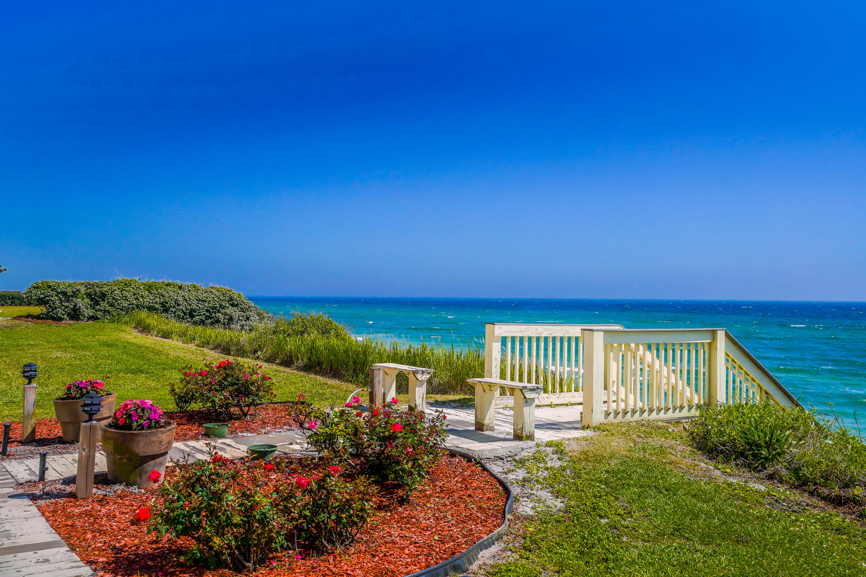 Stunning views from this updated condo on a high bluff overlooking the emerald waters of the Gulf of Mexico.  Blue Tide has an amazing location on the E end of 30A, close to Rosemary Beach and Alys Beach.  Intimate complex with pool, gorgeous beach and assigned parking.  Strong rental history