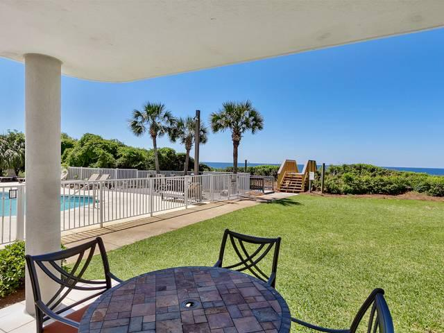 The perfect location on the East end of 30A at the quaint condominium of Tranquillity On The Beach. This condo sits directly facing the beach and offers views of the beautiful Gulf of Mexico and the sparkling pool with easy access by walking straight off of your own patio. Because of its location you won't have to wait for or ride on the elevator to get to the beach, pool or parking. It comes fully equipped and furnished for you to enjoy 3 spacious bedrooms and 3 full bathrooms including a Gulf front master suite with balcony access. The gourmet kitchen features gorgeous slab granite counters and has a breakfast bar for all to enjoy. The beautifully appointed living room features additional windows due to the end unit location and opens to the large covered balcony overlooking the gorgeous ly landscaped grounds. The views from your balcony and the easy in and out access of this condo are unparalleled! Tranquillity offers a gated community with private storage, low density, and much more!