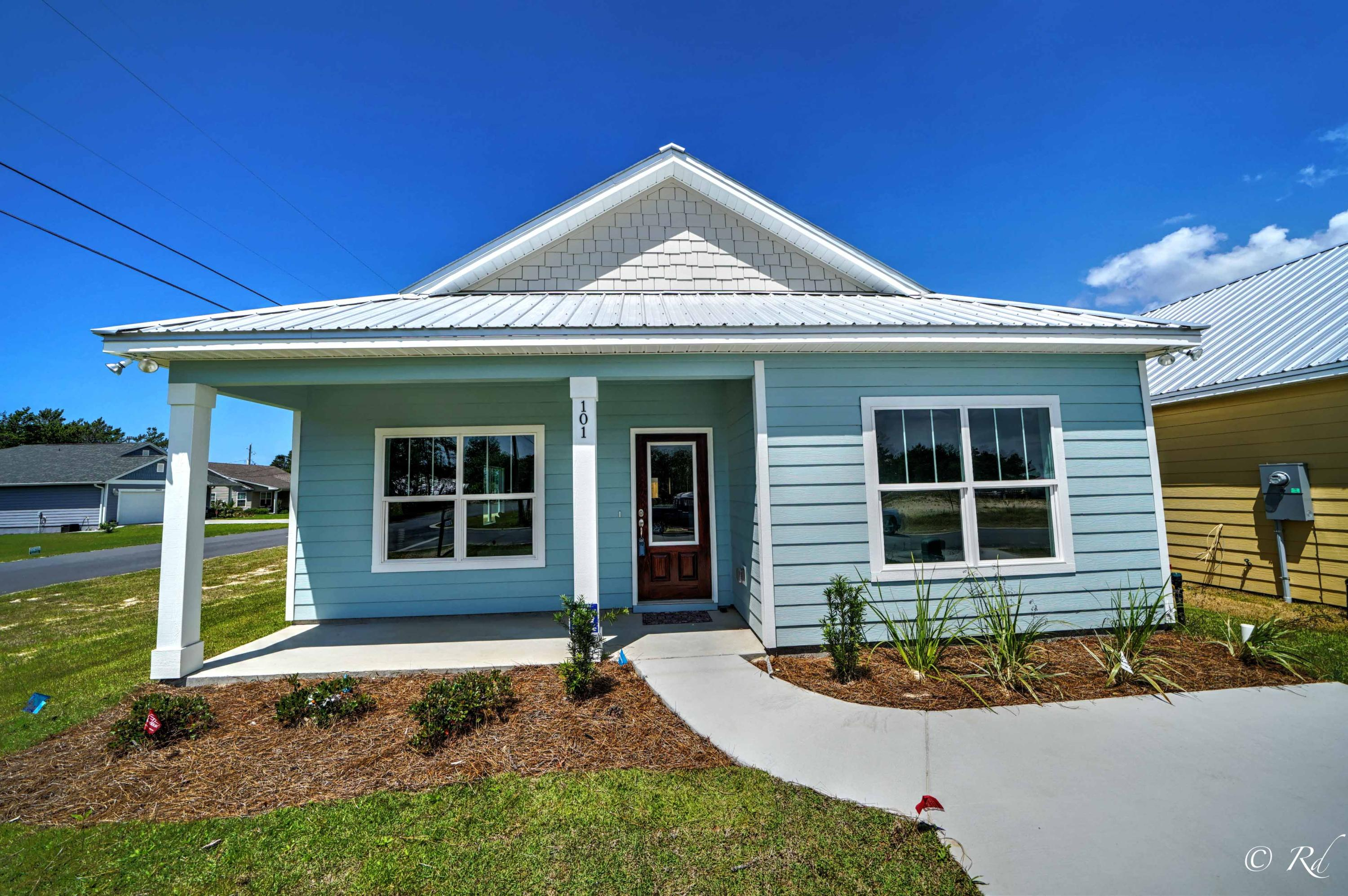 TODAY is the day that you can realize your dream of owning your own BRAND NEW Beach Home, just steps away from Lake Powell and a short walk to the Worlds Most Beautiful Beaches of Panama City Beach and the Beaches of 30A. Osprey Pointe at Powell is a new 17 home subdivision at the west end of Panama City Beach. These homes are ''Coastal Cottage Cuties'' in a golf cart friendly community with Hardy-Board siding, metal roofs and quality construction. Granite countertops in kitchen, Stainless appliances and ''above builder grade'' fixtures and flooring. See Additional pics for floor plan information and videos of model home and drone footage through links. Directions are not on Google - see listing