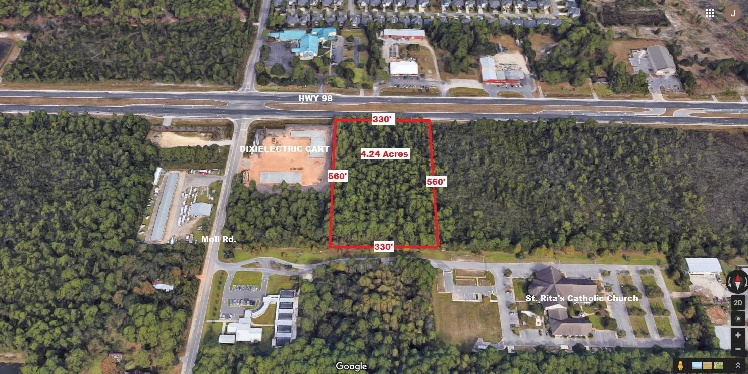 Vacant parcel along Hwy 98 in the booming area of Santa Rosa Beach in south Walton County. The adjac