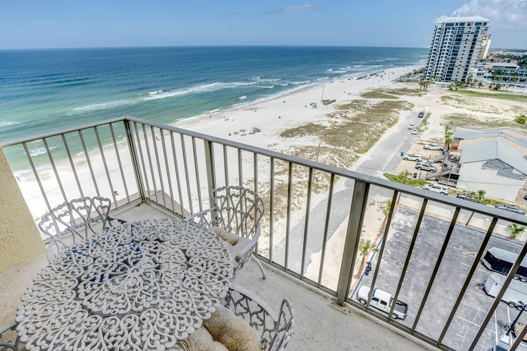 Incredible view of the Gulf!  Large sliding glass doors out to the patio.  Very well kept unit with a nice open concept and 2 over sized bathrooms. There is an ultra thermal massage tub with an air cleaning system, so no water stays in the lines.  The kitchen has an induction glass top stove and a microwave with convection, broil and bake options.  Gated complex with many amenities including 2 pools, a tennis court, exercise room and much more.