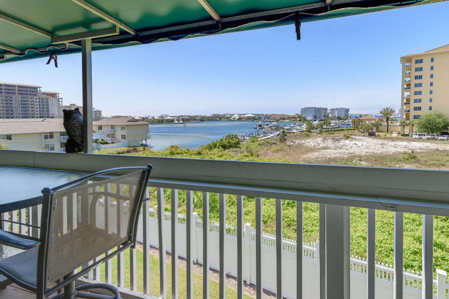 Fabulous Harbor Views! Welcome to Sandpiper Cove, a medium density gated 43 Acre resort in the heart of Destin.  Unit 2019 is an end unit with Fabulous Views Down the Destin Harbor.  Enjoy morning coffee, beautiful sunsets, fireworks(seasonal) and views of the Destin Harbor from your expanded covered balcony. The balcony has been extended out 8 feet and covered with a canvas awning.   This unit is a fully furnished 1 bedroom, 1 bath unit with a queen bed and queen sofa. The unit features: Granite bathroom vanities, Flat Screen TV's in the living room and bedroom, tiled bathroom, kitchen and foyer floors, Carpet in the living and bedroom, fully equipped kitchen and a stack washer and dryer.  The unit has a small storage closet before entering the unit and hurricane shutters for the balcony windows.   Units 2019 and unit 2020 are one bedroom, second floor unit's side by side overlooking the Destin Harbor.  The units can be combined with an adjoining door to make a 2 bedroom, 2 bath unit.   Unit 2019 can be purchased separately or both units purchased together. This unit is just steps to the pool and in walking distance to 1100 feet of private white sandy beaches. Sandpiper cove amenities include 5 pools (2 heated), 6 tennis courts, a harbor front marina, boat ramp, and a nine-hole par 3 pitch and putt golf course. The  beach pavilion is home to Rick's Sandtrap serving great food and drinks.  There are also his and hers bathroom facilities with outside side showers to rinse off.  Louisiana Lagniappe Restaurant is on property with views of the Harbor and Sunset.  The seasonal water taxi will pick you up at the marina dock and drop you off anywhere on the harbor. The resort is conveniently located to nearby Destin area shopping, restaurants, and many other local area attractions.   Located in an X Flood Zone