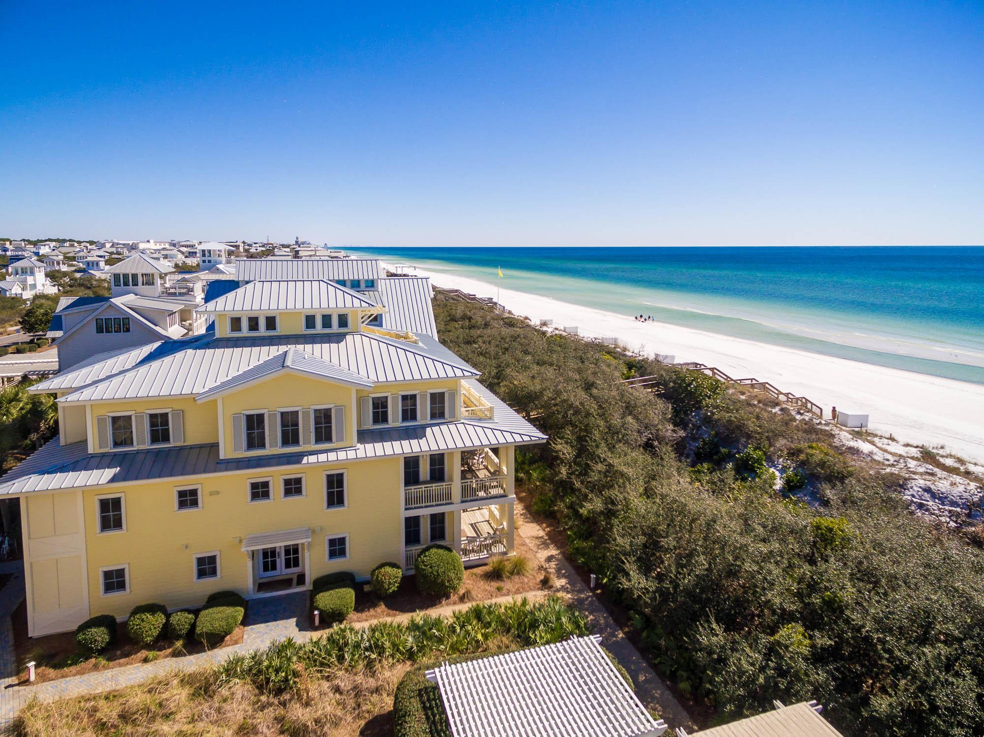This beachside town home is your perfect getaway! Located Gulf Front within the Beach District of Watercolor, this two story, three bedroom, 3.5 bathroom unit is the perfect home away from home and situated in one of the best locations on 30A. The unit has over $75,000 of rental income already on the books for 2019 and we are early in the Season!  Convenience is all around you at Beachside #20 as it is ideally located between the beach access, private Beachside Pool and walking distance to everything located in Watercolor and Seaside!! This home boasts two king master suites, one bedroom with twin bunks/trundle, single bed with trundle and a pull out bed located in the sleeper sofa. Enjoy early morning cup of coffee or night cap on the balcony where you can watch the amazing Sunsets! The coastal decorated living area is located on the upper level, with ample plush seating for everyone in stunning professionally designed interiors. Enjoy cooking in the fully equipped kitchen and sitting around the large dining table or eating breakfast at the kitchen bar while enjoying all the views. Access to the Private Beachside Pool is located next to the unit, directly across the side entrance, also enjoy walking to Seaside! This Beachside Unit not only is within the heart of Watercolor, walking distance to everything it also boarders Seaside, you'll receive the best of both worlds!