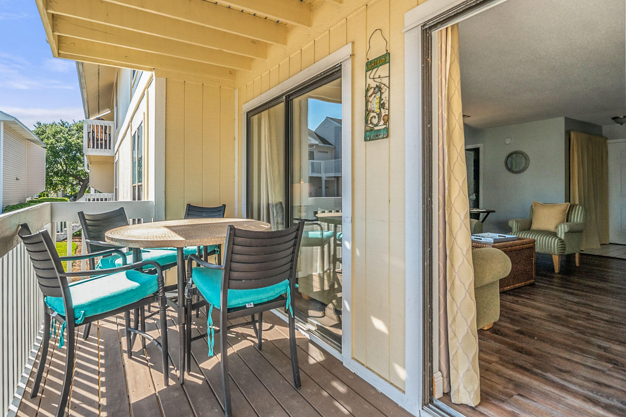 This beautifully decorated 2 bedroom/2 bath condo in Sanpiper Cove is located just inside the main gate and only steps away from the Emerald Green waters of the Gulf of Mexico.  It comes fully furnished.  The AC unit was replaced in 2018, and new TV's have been installed throughout.  You'll love spending your evenings on the back balcony.