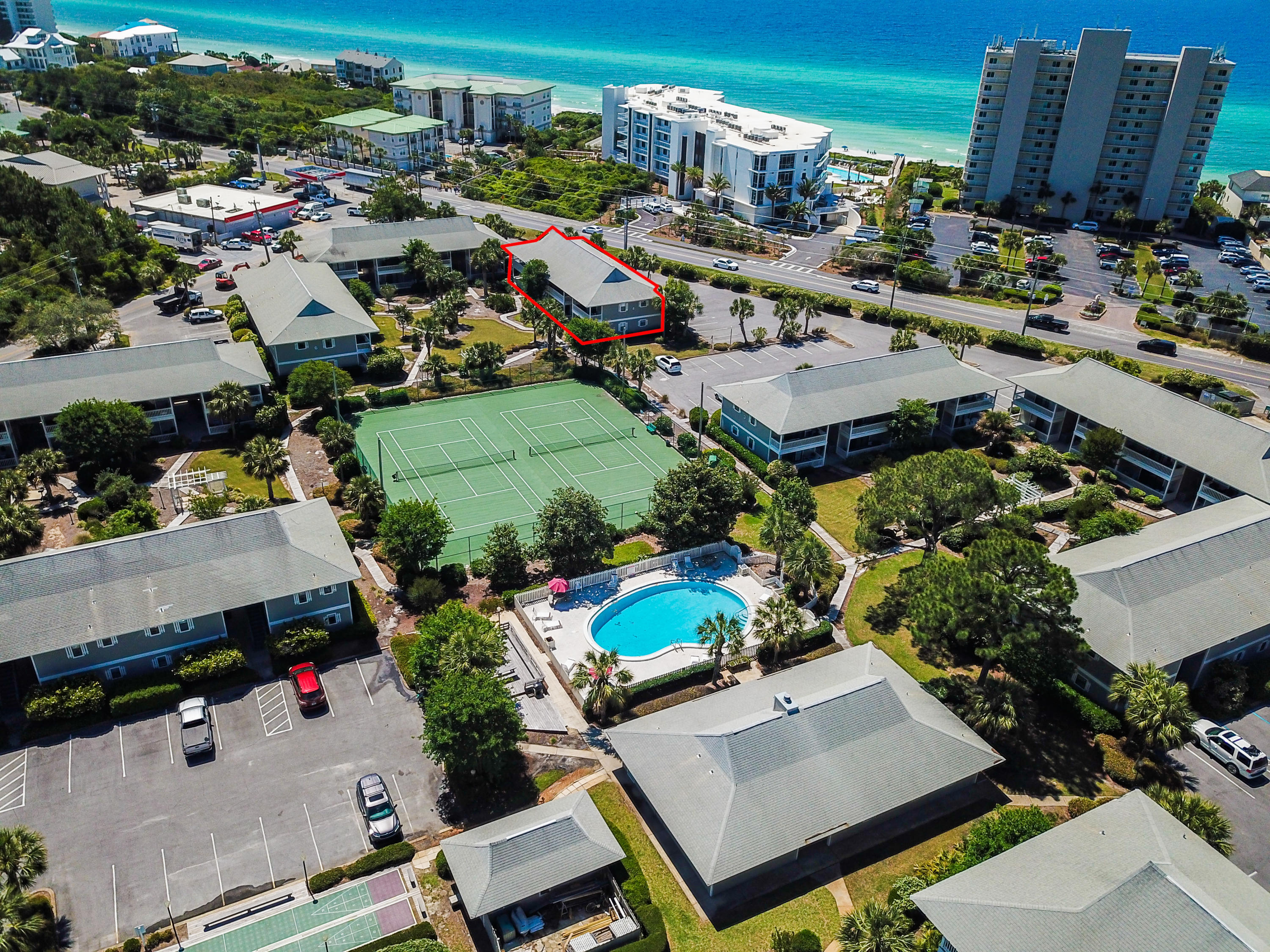 Walk-in ready condo in the heart of Seagrove Beach! This condo was completely remodeled including new furniture in 2016. The 1 bedroom with bunk beds condo is located directly across Highway 30-A from county deeded beach access. This never-rented condo is being sold completely furnished and the remodel included quartz counter tops, fresh paint throughout (including cabinets), bunk beds, new glass slider doors, new HVAC unit (2016), new hot water heater (2018), glass shower doors, tub refinished, recessed lighting, stainless steel ceiling fans, and new solid glass doors leading to the balcony overlooking the green space. This must-see condo is the place you have been looking for along 30-A!