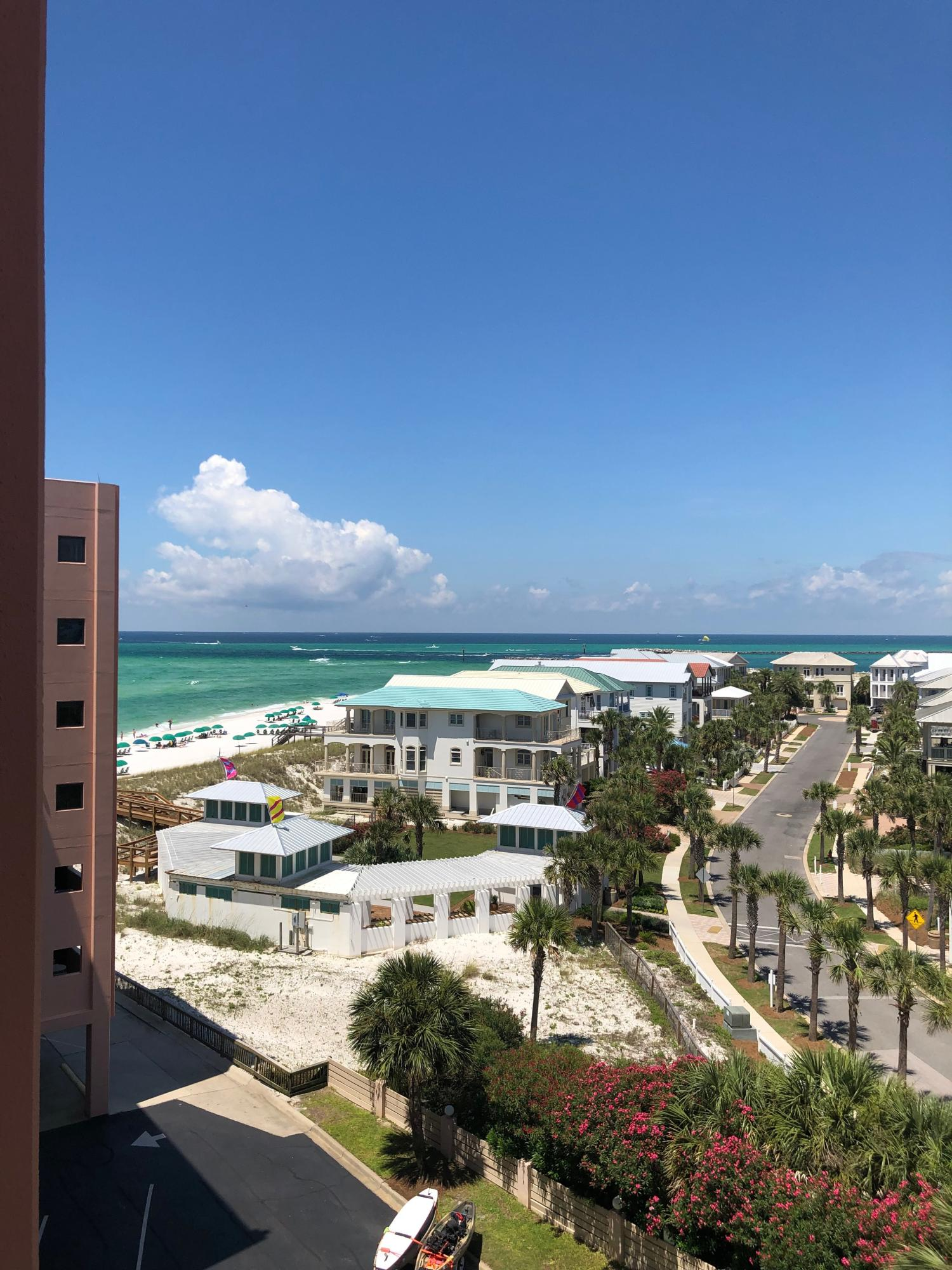 Fantastic Views and the Rental Income 2017 $26,060, 2018 $27,061 make 510A a BEST BUY   The 10 Bay affords expansive views of the Gulf, Jetties, Crab Island and Fort Walton.  Also at night you can catch fireworks over the harbor. Enjoy the open balcony with counter height furniture while watching the fishing boats go out in the morning to the Gulf. In the evening, watch the amazing sunsets on the balcony. The kitchen has stainless steal appliances, ice maker, Keurig or coffee pot, and Silestone Quartz counters. The bathroom has a grab bar in the combination tub and shower. The bedroom and living room are carpeted. The living room has a wall of mirrors and a Queen Sleeper. Enjoy watching TV on the 42'' Led HDTV and VCR in the living room. Relax on the  King Bed and watch 32'' LED HDTV and VCR. You will enjoy your stay in this comfortable condo. The unit has New code compliant EFCO doors and windows. Amenities include a fitness room, heated pool, hot tub, 3500 sq. ft. pavilion w/BBQ grills, tennis courts, shuffleboard & 900 feet of pristine white beach right on the Gulf of Mexico. Take a short walk to the jetties for fishing & a cove for snorkeling. Jetty East offers covered parking. The Owners room has been remodeled and can be rented for weddings, guest gatherings and owner functions. Gated community with 24/7 Security. Buyer to confirm any measurements/information they deem important.