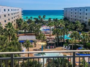 Fantastic views of the entire pool deck and amenities inside the Waterscape Courtyard from this top floor gem of a condo!