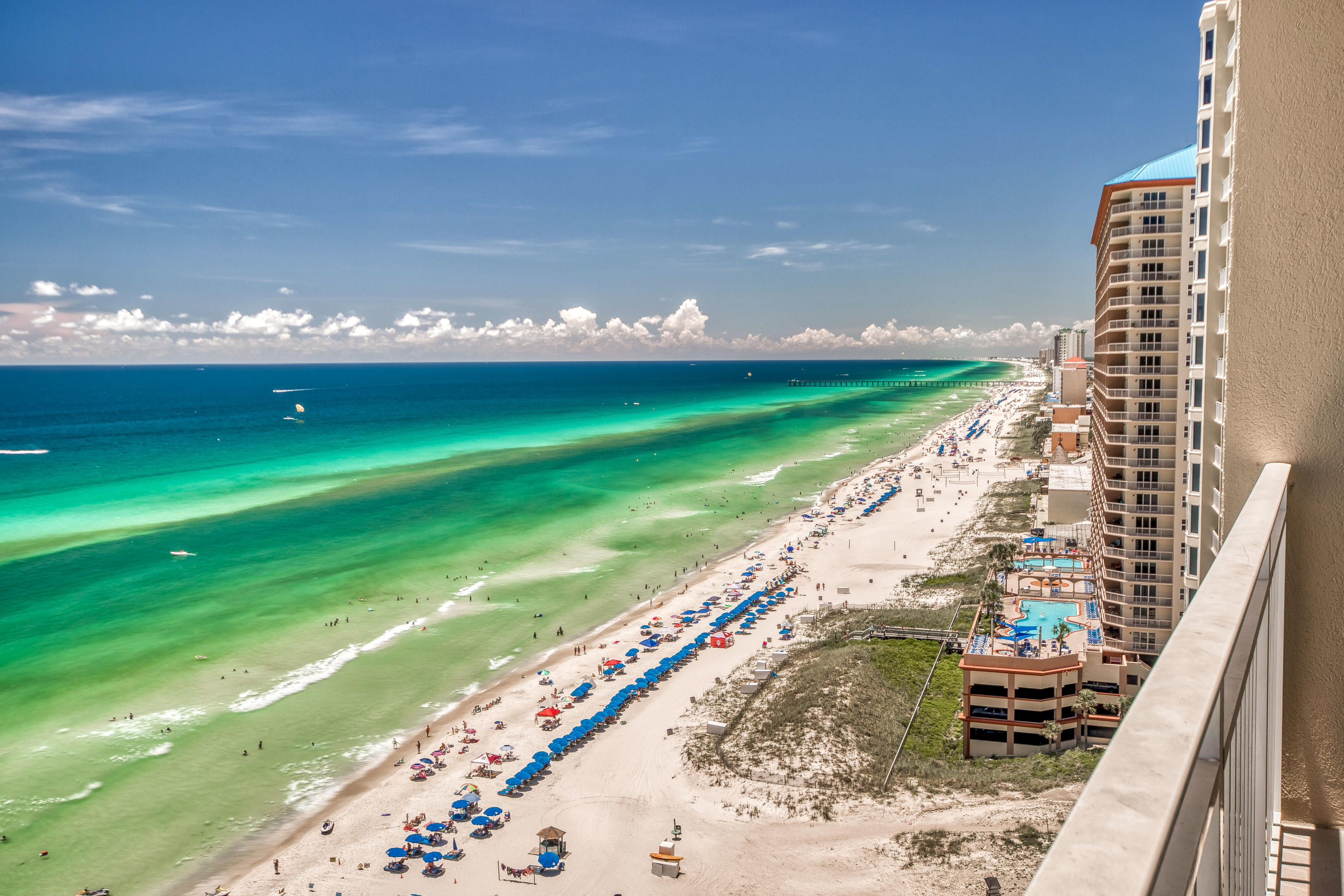 Take a peek at the BEST PRICE on a 2007+ built gulf front condo on the west end of Panama City Beach, Florida near Pier Park! This is a great opportunity to get in on a fantastic property with great income potential.  This one bedroom, one bathroom condo with bunks offers a generous floor plan that easily accommodates 6 people. This condo boasts tremendous views from its 18th floor perch and is sure to impress. The property is also being offered FULLY FURNISHED and ready for rental. Emerald Beach Resort offers a stellar location only 1.5 miles east of Pier Park and has a wide array of amenities to offer. Amenities including a large gym, multiple pools, hot tubs, splash area for kids, tiki bar, Starbuck's, gift shop, covered parking & an exquisite ''SKY LOUNGE'' offering cocktails and more!