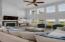 Looks into living area in an open floor plan