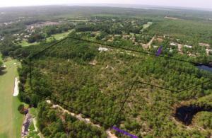 This aerial photo shows the location of the parcel along the Santa Rosa Golf Course at Gulf Place in Santa Rosa Beach, FL.