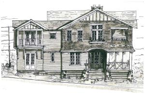 Sketch of house with plans convey. Front elevation.