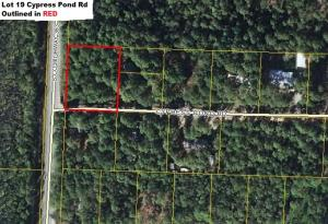 Aerial View of Lot 19 Cypress Pond Rd outlined in Red