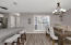 plantation shutters in kitchen/dining space