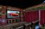 2nd level theater with projection screen and stadium seating